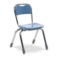 Virco - Telos Stacking Kids Chair in Indigo Finish - Highly sustainable. Ergonomically sculpted. Scratch-resistant. Chrome frame. Hard plastic seat and back. Heavy-gauge steel frame for reliable. GREENGUARD Certified. Long-lasting performance. Nylon base glides. Seat Height: 12.75 in.. Overall: 15.63 in. W x 15.38 in. D x 22.38 in. H (14.3 lbs.)
