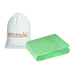 Ettitude - Organic Pure Bamboo Trinity Queen Size Jacquard Sheet Set, Light Green, Queen - Sustainable luxury? It's true! Our Queen bamboo sheet sets are the softest, most comfortable bedding option you can buy. Equivalent to around 1000 thread count in cotton and made from a renewable resource, bamboo sheets are miles away from the scratchy feel of ordinary sheets. Bamboo also has naturally antibacterial properties, which makes it a great choice for anyone with sensitive skin or allergies. Discover the eco-friendly luxury of sheets that wick sweat away from the body, keeping you dry and cool in summer and warm in winter. Products manufactured in China.