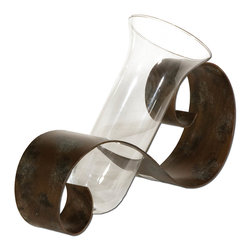 Uttermost - Uttermost Contemporary Curl Decorative Vase 19516 - Antiqued mahogany hand forged metal with black and light gray distressing and a clear glass vase. Flowers not included.