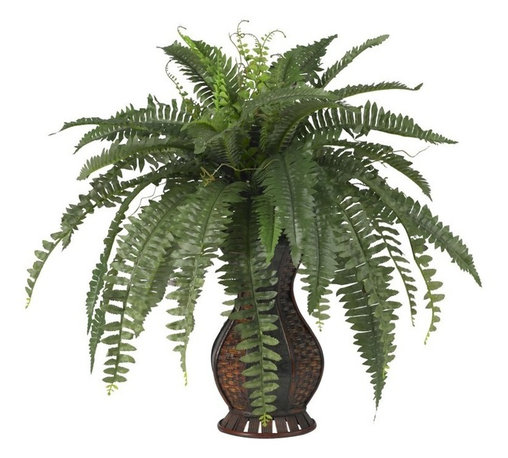 Boston Fern with Urn Silk Plant - A flowing spectacle of greenery, this is one plant that will stand out in any room in your house (or office, so we aren't too picky with location). The long leaves of this Boston Fern seem to drape each other in a multi-layered display, all tied together in a beautiful urn. It seems like it would take a lot of care and maintenance, but in reality, there's nothing for you to do except find the perfect location (or perfect person to give it to). Height= 28 in x Width= 27 in x Depth= 27 in