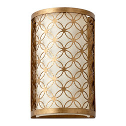 Kathy Kuo Home - Small Round Lattice Antique Brass Metal Filigree Wall Sconce - A classic piece of mid century modern lighting, this pressed metal gold leaf filigree sconce shines a warm glow wherever it is placed.  Feminine and urbane, this small piece could also work within a vintage kitchen or office.