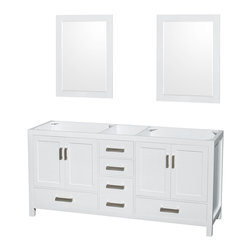 """Wyndham Collection - Wyndham Collection 72"""" Sheffield White Double Vanity, No Countertop, No Sink - Distinctive styling and elegant lines come together to form a complete range of modern classics in the Sheffield Bathroom Vanity collection. Inspired by well established American standards and crafted without compromise, these vanities are designed to complement any decor, from traditional to minimalist modern. Available in multiple sizes and finishes."""