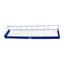 Pre-owned Fruit of the Loom Shelves - These vintage blue metal shelving from Fruit of the Loom are the perfect funky storage solution. They are nice deep wire shelves with a lip across the front.  We've got four and they are listed and sold in sets of two. If you're interested in purchasing both sets of two, please email: support@chairish.com
