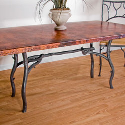 Mathews & Company - South Fork Rectangle Dining Table Base Only - This rustic South Fork Rectangle Dining Table Base Only allows you to use your own table top such as granite, custom wood, stone, or glass. Pictured in Black finish.
