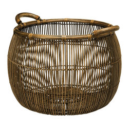 Kouboo - Large Open Weave Rattan Storage Basket - This hand woven storage basket has sculptural qualities due to the intricate open weave. The open weave allows for the content to become part of the look. Neatly store pillows, throws, books, magazine and much more in it or use it as a cachepot for your indoor plant. 1 year limited warranty.
