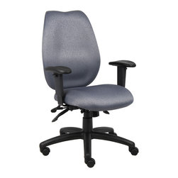 "Boss Chairs - Boss Chairs Boss Grey High Back Task Chair w/ Seat Slider - High-back styling upholstered with commercial grade fabric. Sculptured waterfall seat made from molded foam that contours to the shape of your body. Ratchet back height adjustment allows perfect positioning of the back cushion for lumbar support. Adjustable height armrests with soft polyurethane. Width adjustable armrest allows the user to move the armrests to match shoulder width. Large 27"" nylon base for greater stability. Hooded double wheel casters. Pneumatic gas lift seat height adjustment. Adjustable tilt tension control. Seat tilt lock allows the seat to lock throughout the tilt range. Back angle lock allows the back to lock throughout the angle range for perfect back support."