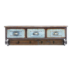 Woodland Imports - Vintage Style Weathered Brown Finish Wall Shelf w/ Hook Accent Home Decor 20236 - Vintage inspired style natural finish wood wall shelf with 3 aged metal drawers and 4 hook hangers home storage decor