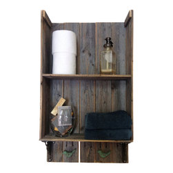 (del)Hutson Designs - Sweet Southern Charm 2, Barn Wood - This shelf is made 100% out of reclaimed wood. We use old barn and fence wood to bring out the rustic appeal. The birds below are solid iron and work great to hold your wet towels. Accessories not included.