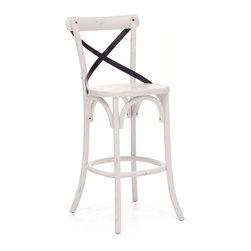 Union Square Bar Chair Antique White - Elm Wood and Metal Bar Chair in Antique White