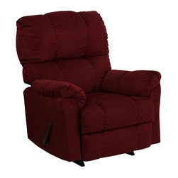 Flash Furniture - Contemporary Top Hat Berry Microfiber Rocker Recliner - Contemporary Top Hat Berry Microfiber Rocker Recliner