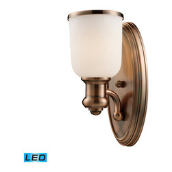 Elk Lighting - Landmark Lighting Brooksdale 66180-1-LED 1-Light Sconce in Antique Copper - LED - 66180-1-LED 1-Light Sconce in Antique Copper - LED Offering Up To 800 Lumens belongs to Brooksdale Collection by Landmark Lighting Blending Vintage Design Elements With Today��_��_��_��_��_��_S Casual Living, The Brooksdale Collection��_��_��_��_��_��_S Functional Beauty Allows For Use In A Variety Of Decors. Choose The Finish That Best Reflects Your Style; Polished Chrome, Satin Nickel, Or Antique Copper With White Glass Or OiLED Bronze With Amber Glass. - LED Offering Up To 800 Lumens (60 Watt Equivalent) With Full Range Dimming. Includes An Easily Replaceable LED Bulb (120V). Sconce (1)