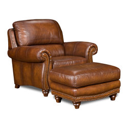 Tres Amigos Furniture and Accessories - Rustic 100% Leather Arm Chair - This is the Tres Amigos Leather Armchair. Using only premium quality top grain leather, the Tres Amigos Rustic Leather Collection is simply among the very best quality leather furniture available anywhere in the world today. The arms and front rails are adorned with brass nail-head trim and accented on the the back. Built to last, the frame is of kiln dried solid wood in load bearing areas, arms are bolted to the frame and the fronts, sides and backs are padded. The seating is a pub back and suspension is a Super Strenth Pirelli webbing and double lacing for extra comfort and support. A fixed back and seat cushions are of the highest quality 2.4 density memory foam.  A combination of tanning, dyeing and finishing techniques create various finishes that showcase the natural beauty of leather.