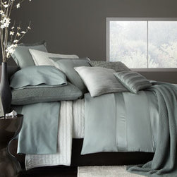 "Donna Karan Home - Donna Karan Home Full/Queen Duvet Cover, 92"" x 96"" - Luxury bed linens in soothing hues make the most of rich textures, from knitted to layered, from solid to striped. From Donna Karan Home. Select color when ordering. Made of alternating rows of shiny and matte silk charmeuse with inserted chiffon deta..."