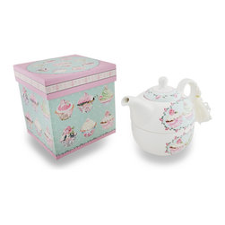 Zeckos - Ceramic Cupcake Tea For One Teapot and Cup with Decorative Storage Box - Have your just desserts with this tea service for one featuring a Victorian design of tasty looking cupcakes and pink roses It's a delicious addition for tea time, and includes a white ceramic teapot and cup in a complementing decorative paperboard gift/storage box with sparkling glitter accents. The teapot is finished off with a white tassel on the handle, and fits right inside the teacup for easy storage when not in use. This teapot set measures 5.5 inches (14 cm) high, 6.5 inches (17 cm) long and 4.25 inches (11 cm) wide, and the decorative box is 5.75 inches (15 cm) high, and 5.5 x 5.5 inches (14x14 cm). It makes an amazing gift for both the young and the young at heart sure to be adored