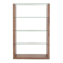 Euro Style - Euro Style Lennox Shelving Unit Glass // Walnut - Hats off to this designer. It s not easy to bring truly fresh ideas to shelving. The side panels are your choice of walnut, wenge or white.