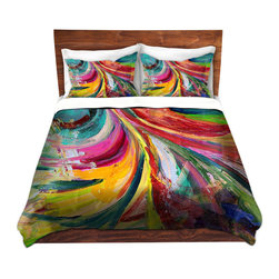 DiaNoche Designs - Duvet Cover Microfiber - Synesthesia - Super lightweight and extremely soft Premium Microfiber Duvet Cover in sizes Twin, Queen, King.  This duvet is designed to wash upon arrival for maximum softness.   Each duvet starts by looming the fabric and cutting to the size ordered.  The Image is printed and your Duvet Cover is meticulously sewn together with ties in each corner and a hidden zip closure.  All in the USA!!  Poly top with a Cotton Poly underside.  Dye Sublimation printing permanently adheres the ink to the material for long life and durability. Printed top, cream colored bottom, Machine Washable, Product may vary slightly from image.