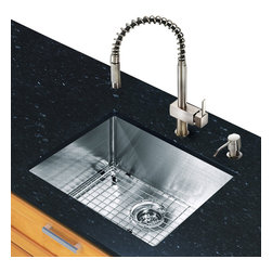Vigo - All in One 23in.  Undermount Stainless Steel Kitchen Sink and Faucet Set - Add some sophistication to your kitchen with a VIGO All in One Kitchen Set featuring a 23in.  Undermount kitchen sink, faucet, soap dispenser, matching bottom grid and sink strainer.