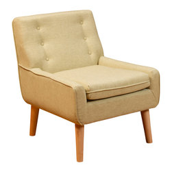 Great Deal Furniture - Brockston Citrus Champagne Fabric Retro Accent Chair - Make your room unique with a blast from the past. This retro-chic Brockston chair will add the perfect pop of color and funk to any space.Upholstered in citrus champagne fabric, this chair is designed with a large padded seat and tufted backrest. If you're looking to add a unique piece to your home, you will enjoy the look and feel of this chair.