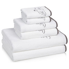 Contemporary Towels Kassatex Le Bain Collection 6-pc. Towel Set, White/Charcoal