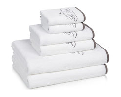Kassatex - Kassatex Le Bain Collection 6-pc. Towel Set, White/Charcoal - Fancy up bath time with luxurious embroidered towels that bring the French spa experience home. Don't be surprised if you catch yourself staring at them lovingly and imagining that opening your front will instantly transport you to the Champs-Élysées. One can dream, right?