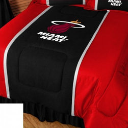 Sports Coverage - Sports Coverage NBA Miami Heat Sideline Bedding - Comforter - Twin - NBA Miami Heat Sideline Comforter looks and feels like a real jersey! A must have for any true fan. New Design - Same great quality! Show your team spirit with this great looking officially licensed Comforter which comes in a new design with sidelines. This Comforter is made from 100% Polyester Jersey Mesh - just like what the players wear. The fill is 100% Polyester batting for warmth and comfort. Each comforter has the authentic team logo screen printed in the center.  Each comforter has the team logo centered on solid background in team colors. 5.5 oz. Bonded polyester batts. Looks and feels like a real jersey!  Features:  - 100% Polyester Jersey top side,   - Poly/Cotton bottom side,   - Filled with 100% Polyester Batting,   - Logos are screenprinted ,   - Machine washable in warm water,   -  Tumble dry on low heat. ,