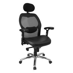 Flash Furniture - Flash Furniture High Back Super Mesh Office Chair w/ Black Italian Leather Seat - This mesh office chair will comfortably accommodate your needs as a office or home office chair. Chair features a breathable mesh back with a comfortably padded seat. The silver accented back adds a touch of flair to highlight your work space. [LF-W42-L-HR-GG]