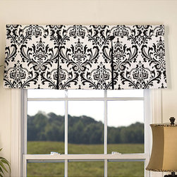 Victor - Arbor 50 in. Window Valance - Accent your window with this traditional double pleat valance. This window fabric features a black and white print.