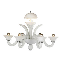"""Worldwide Lighting - Murano Venetian Style 6-Light Blown Glass in White Finish Chandelier 28"""" x 22"""" - This stunning 6-light Venetian Style Chandelier only uses the best quality material and workmanship ensuring a beautiful heirloom quality piece. Featuring a hand crafted quality white glass in traditional Italian style and gleaming Polished Chrome finish hardware that's actually blown into the glass during the production process, this elegant chandelier is a work of art in its quality and beauty. Worldwide Lighting Corporation is a privately owned manufacturer of high quality crystal chandeliers, pendants, surface mounts, sconces and custom decorative lighting products for the residential, hospitality and commercial building markets. Our high quality crystals meet all standards of perfection, possessing lead oxide of 30% that is above industry standards and can be seen in prestigious homes, hotels, restaurants, casinos, and churches across the country. Our mission is to enhance your lighting needs with exceptional quality fixtures at a reasonable price."""