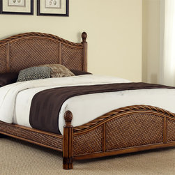 None - Marco Island Refined Cinnamon King-size Bed - This Marco Island King Bed by Home Styles is island inspired displaying a rich blend of materials including Natural Rattan woven wicker,Mahogany solids,and veneers in a refined cinnamon finish.