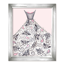Doodlefish - Petal Princess - This  piece of artwork is called Petal Princess. Artist Regina Nouvel combines original paintings, graphic elements, jewels and glitter to create a beautiful piece of art for your little girl's room. The hottest combination of grey and pink will work with any decor and looks amazing with our Amore and Dozen Roses Bedding sets. The jewels adorn the neckline of the dress and the center of the big flowers are covered in glitter. A Selection of painted or silver frames are available.