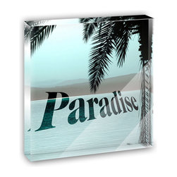"""Made on Terra - Tropical Paradise Mini Desk Plaque and Paperweight - You glance over at your miniature acrylic plaque and your spirits are instantly lifted. It's just too cute! From it's petite size to the unique design, it's the perfect punctuation for your shelf or desk, depending on where you want to place it at that moment. At this moment, it's standing up on its own, but you know it also looks great flat on a desk as a paper weight. Choose from Made on Terra's many wonderful acrylic decorations. Measures approximately 4"""" width x 4"""" in length x 1/2"""" in depth. Made of acrylic. Artwork is printed on the back for a cool effect. Self-standing."""