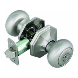 DHI-Corp - Barcelona 2-Way Latch Entry Door Knob, Adjustable Backset, Satin Nickel - The Design House 702803 Barcelona 2-Way Latch Entry Robust Door Knob operates with a keyed exterior and a thumb-turn interior. Finished in satin nickel and designed for left or right hand doors, this knob fits the two most common backsets in the U.S. (2-3/4-inch and 2-3/8-inch). The 1/2-inch latch bolt is plated in nickel and does not budge once in place. Entry knobs are often used on front doors and back doors. Use this knob on standard 1-3/8-inch and 1-3/4-inch thick doors. This product has a 1-inch by 2-1/4-inch radius corner face plate. If you are preparing your door for installation, the cross bore should be 2-1/8-inches in diameter and the edge bore should be 1-inch in diameter. This product is ANSI Grade-3 certified, which means this knob is rated for residential security. The Design House 702803 Barcelona 2-Way Latch Entry Robust Door Knob comes with a limited lifetime mechanical warranty and a 5-year finish warranty that protect against defects in material and workmanship. Design House offers products in multiple home decor categories including lighting, ceiling fans, hardware and plumbing products. With years of hands-on experience, Design House understands every aspect of the home decor industry, and devotes itself to providing quality products across the home decor spectrum. Providing value to their customers, Design House uses industry leading merchandising solutions and innovative programs. Design House is committed to providing high quality products for your home improvement projects.