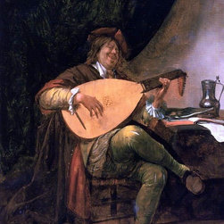 "Jan Steen Self Portrait as a Lutenist - 18"" x 24"" Premium Archival Print - 18"" x 24"" Jan Steen Self Portrait as a Lutenist premium archival print reproduced to meet museum quality standards. Our museum quality archival prints are produced using high-precision print technology for a more accurate reproduction printed on high quality, heavyweight matte presentation paper with fade-resistant, archival inks. Our progressive business model allows us to offer works of art to you at the best wholesale pricing, significantly less than art gallery prices, affordable to all. This line of artwork is produced with extra white border space (if you choose to have it framed, for your framer to work with to frame properly or utilize a larger mat and/or frame).  We present a comprehensive collection of exceptional art reproductions byJan Steen."