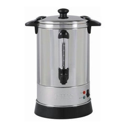 Metal Ware Corp. - Nesco Coffee Urn 30 Cup - Nesco CU-30 30 Cup Coffee Urn - The Nesco Coffee Urn is constructed of Stainless Steel and features double wall insulation, allowing it to retain heat longer than singer wall models. Its hefty capacity can hold up to 30-5.7 oz. cups. Approximate brewing time is one cup per minute. Green indicator light letsyou know when coffee is ready to be served. With locking lid and stay-cool handles to help prevent mishaps, this urn is truly a crowd pleaser. Features: Stainless Steel, double wall insulation, 950 watts, stay cool handles, locking lid, water gauge, indicator lights.