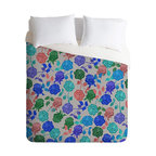 DENY Designs - Bianca Green Roses Blue Duvet Cover - Turn your basic, boring down comforter into the super stylish focal point of your bedroom. Our Luxe Duvet is made from a heavy-weight luxurious woven polyester with a 50% cotton/50% polyester cream bottom. It also includes a hidden zipper with interior corner ties to secure your comforter. it's comfy, fade-resistant, and custom printed for each and every customer.