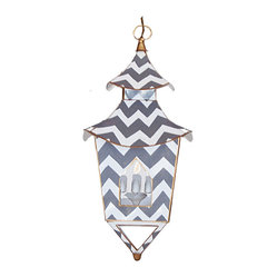 Gray Bargello Lantern