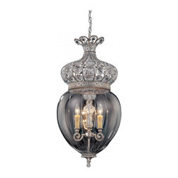 Josephine Foyer - A foyer fixture with elegant glass, clear crystals and a dazzling Empire designWeight: 26. 40 lbsFinish: Silver LaceBulb Wattage: 60Glass: Clear EtchedNumber of Bulbs: 3Candle Covers: Cream BeeswaxType of Bulb: CNumber of Arms: 3Bulbs Included: NoSafety Rating: UL, CULVoltage: 120