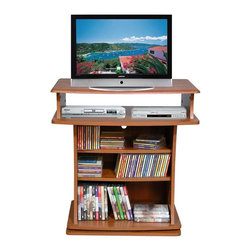 Venture Horizon - Swivel Entertainment Stand w Adjustable Shelv - Finish: BlackSwivel base enhances viewing. Holds up to 27 in. TV. Great for X-box, playstation and Wii. Roomy shelves hold cd's and DVD's. Sturdy. Constructed from durable, stain resistant and laminated wood composites that includes MDF. Made in the USA. Pictured in Cherry finish. Minimal assembly required. Media storage capacity:. CD's : up to 135. DVD's : up to 60. Blu-ray's: up to 80. VHS tapes: up to 34. Disney tapes: NA. Audio cassettes: 130+. Weight: 59 lbs.. Shelf depth: 6 in.. Assembled size: 29 in. W x 20 in. D x 29.5 in. HThis television cabinet revolves a full 360° and places your TV at a comfortable viewing height. It blends easily with even the finest furniture. Lower shelves are adjustable and can accommodate a VCR or DVD player, videos and CDs.