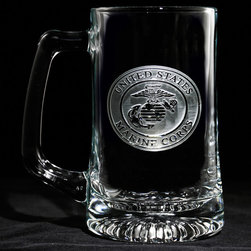"Crystal Imagery, Inc. - Marine Corps Beer Mug, Military Barware Gifts - Engraved Marines military beer mug is perfect gift for retiring marine military or for an officer's promotion. Deeply carved using our sand carving technique, each of our custom beer mugs is meticulously custom made to order making it the perfect gift for those seeking unique gift ideas for beer lovers - men and women alike. At 5.75"" high x 3"" wide, our beer mugs and glasses hold 15 oz. A set of these etched, engraved beer mugs will be the favorite gift at any special gift giving occasion. Dishwasher safe. SOLD AS A SET OF 4."