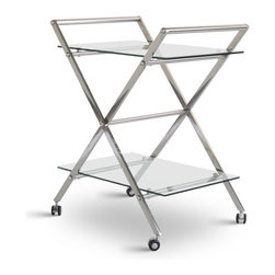 Zuri Furniture - Eli Rolling Chrome and Glass Modern Bar Cart - Serve your guests in style with the Eli Bar Cart! Its chrome finish and glass will add just the perfect touch to your bar or dining room.