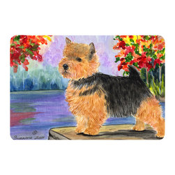 Caroline's Treasures - Norwich Terrier Kitchen or Bath Mat 20 x 30 - Kitchen or Bath Comfort Floor Mat This mat is 20 inch by 30 inch. Comfort Mat / Carpet / Rug that is Made and Printed in the USA. A foam cushion is attached to the bottom of the mat for comfort when standing. The mat has been permanently dyed for moderate traffic. Durable and fade resistant. The back of the mat is rubber backed to keep the mat from slipping on a smooth floor. Use pressure and water from garden hose or power washer to clean the mat. Vacuuming only with the hard wood floor setting, as to not pull up the knap of the felt. Avoid soap or cleaner that produces suds when cleaning. It will be difficult to get the suds out of the mat.