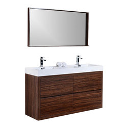 "Aqua Bath - Bliss 59"" Free Standing Double Sink Modern Bathroom Vanity - Brazilian Walnut, A - Please see ""Configuration"" to select your Free Faucets."