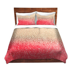DiaNoche Designs - Duvet Cover Microfiber - Gatsby Coral Gold - DiaNoche Designs works with artists from around the world to bring unique, artistic products to decorate all aspects of your home.  Super lightweight and extremely soft Premium Microfiber Duvet Cover (only) in sizes Twin, Queen, King.  Shams NOT included.  This duvet is designed to wash upon arrival for maximum softness.   Each duvet starts by looming the fabric and cutting to the size ordered.  The Image is printed and your Duvet Cover is meticulously sewn together with ties in each corner and a hidden zip closure.  All in the USA!!  Poly microfiber top and underside.  Dye Sublimation printing permanently adheres the ink to the material for long life and durability.  Machine Washable cold with light detergent and dry on low.  Product may vary slightly from image.  Shams not included.