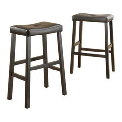 Scottsdale Saddle Bar Stool Black - Set of 2 - Serve up a little extra style in your home bar space with the Scottsdale Saddle Bar Stool Black - Set of 2. Constructed of sturdy Asian hardwood, this duo of backless bar stools is finished in a rich black that accentuates the clean lines and cool, contemporary silhouette. For extra comfort (and convenience), the seats are upholstered in a black vinyl that's easy to clean. Some simple assembly is required. Please note: This item is not intended for commercial use. Warranty applies to residential use only.About Homelegance, Inc.Homelegance takes pride in offering only the highest quality home furnishings that incorporate innovative design at the best value. From dining sets to mirrors, sofas, and accessories, Homelegance strives to provide customers with a wide breadth and depth of selection as well as the most complete and satisfying service available for their category. Homelegance distribution centers are conveniently located throughout the United States and Canada.