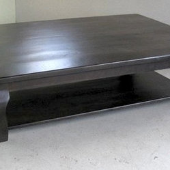 Large Black Washed Reclaimed Oak Coffee Table With Shelf