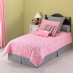 Leggett/Platt Fashion Bed - Cleo Bedding Set (Twin 3-Piece) - Choose Size: Twin 3-Piece3-Piece ensemble includes comforter, bed skirt bed skirt with split corners and sham. 4-Piece ensemble includes comforter, bed skirt bed skirt with split corners and two shams. Deep quilted luxury oversize comforter with 16 ozs. of hand-packed bonded fiberfill. Self-backed shams with envelope style closure. Tack and jump style quilted comforter. 15 in. drop bed skirt. Made from 100% cotton. Made in USA. Twin comforter: 92 in. L x 63 in. W. Full comforter: 92 in. L x 77 in. W