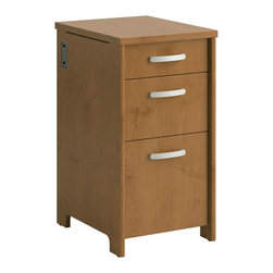 Bush - Bush Envoy Wood 3 Drawer Pedestal in Natural Cherry - Bush - Filing Cabinets - PR76380 - Increase your storage space with the Envoy Collection 3-drawer pedestal by Bush Furniture. All file drawers feature full-extension slides so you can easily reach your back files.