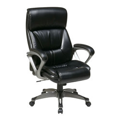 Office Star - Office Star ECH Series Eco Leather Chair with Padded Arms in Black - Office Star - Office Chairs - ECH89307EC3 - Executive Eco Leather Chair with Padded Arms and Coated Base. Featuring coil spring seating comfort. One touch pneumatic seat height adjustment. Locking tilt control with adjustable tilt tension.