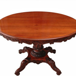 English Regency Mahogany Round Table with Carved Center Pedestal - The HighBoy, BonninAshley Antiques
