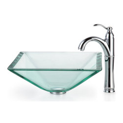 Kraus - Kraus Clear Aquamarine Glass Vessel Sink and Riviera Faucet Satin Nickel - *Add a touch of elegance to your bathroom with a glass sink combo from Kraus